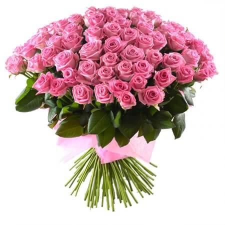 Букет 101 нежно-розовая роза
