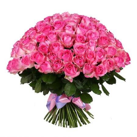Букет 101 ярко-розовая роза