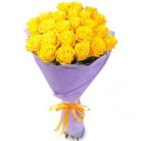 Букет 21 жёлтая роза