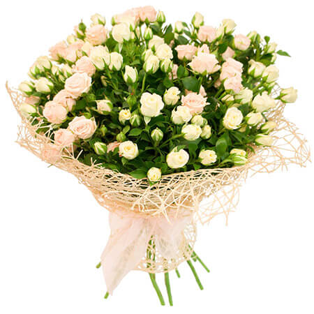 Букет 21 кустовая роза в сетке