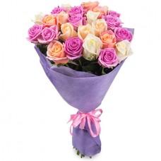 Букет 21 роза розовый микс