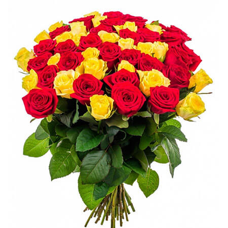 Букет 51 красная и жёлтая роза