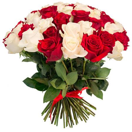 Букет 75 красных и белых роз
