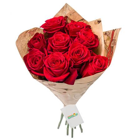 Букет 9 красных роз в крафте