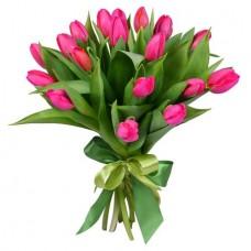 Букет 19 розовых тюльпанов