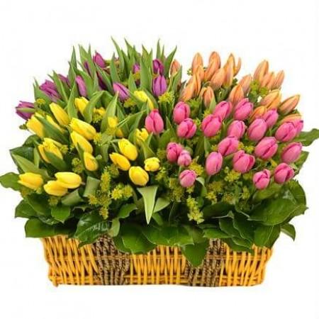 Корзина «Радуга тюльпанов»