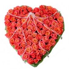 Сердце «75 розовых роз»