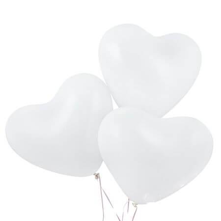 Шарики с гелием белые «Сердце»