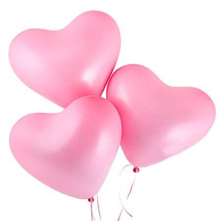 Шарики с гелием светло-розовые «Сердце»